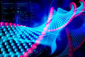 Digital illustration of DNA in color background — Stock Photo