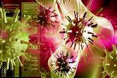 Digital illustration of 3d avian virus in color background — Stock Photo