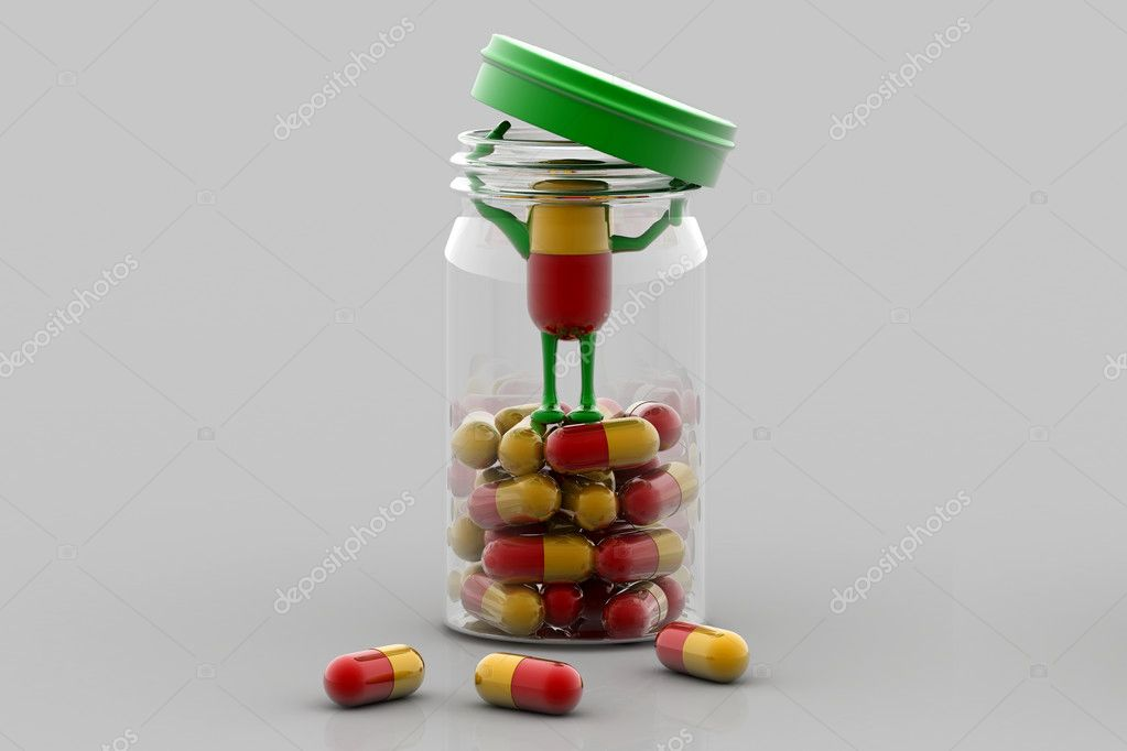 Pills and bottle,3d rendered illustration	 — Stock Photo #3744512