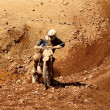 Enduro motocycle climbing slope — Stock Photo #3316342