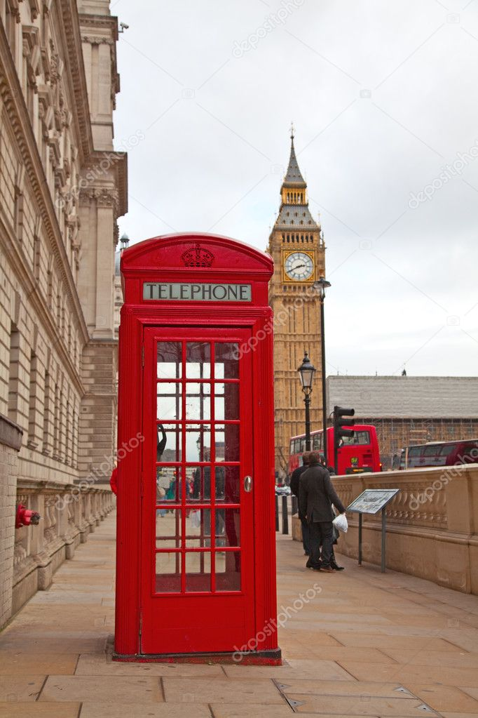 Famous red telephone booth in London, UK  Stock Photo #3369945