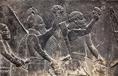 Esculturas de parede assírio antigo — Foto Stock
