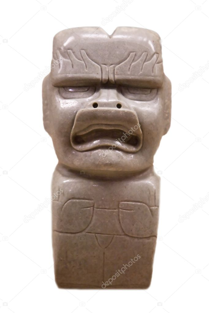 Pre-columbian mexican art (man marble stutue)  Stock Photo #3784494