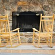 Stock Photo: Chairs by Hearth