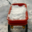 Red Wagon Full of Snow — Stock Photo