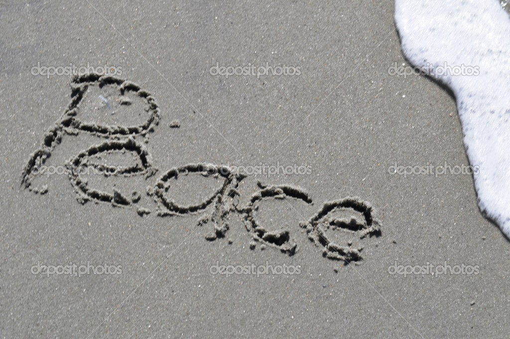 Peace Written in the Sand — Stock Photo #4238212