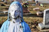 Gravesite - Mary statue - background — Stock Photo
