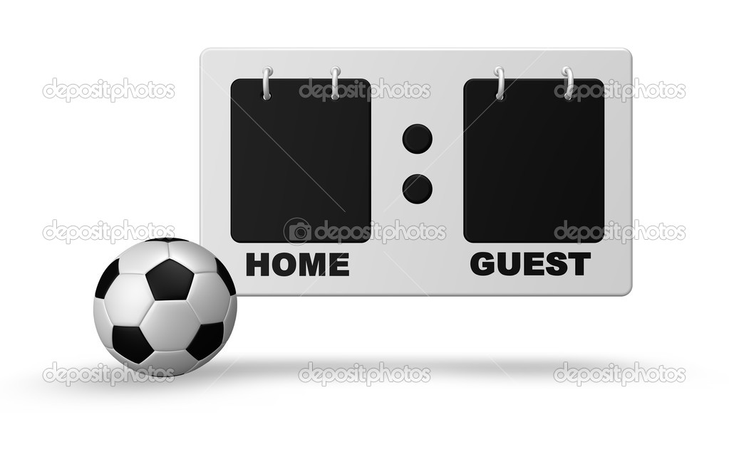 Scoreboard and soccer ball on white background - 3d illustration — Stock Photo #2770397