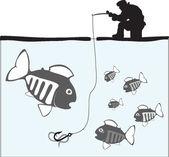 Fishing. Fisher. Fish. — Stock Vector