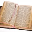 Stock Photo: Old antique vintage open bible isolated
