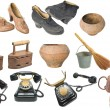 Stock Photo: Vintage home objects big set isolated.
