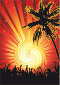 Beachparty Funky Sun — Stock Vector