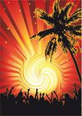 Beachparty Funky Sun — Stock Vector