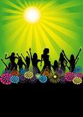 Retro Green Sun - Summer Flyer — Stock Vector