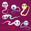 Stock Vector: Sperm Faces