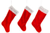 Three traditional red Christmas Stocking — Stock Photo
