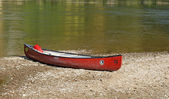 Canoe at Danube bank — Stock Photo