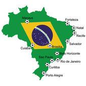 Map Soccer 2014 in Brazil — Stock Photo