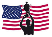 Silhouette of a winner with cup in front of stars and stripes flag — Stockvektor