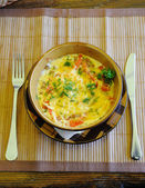 Musaka. A dish from mutton, eggplants, vegetables with the baked cheese — Stock Photo