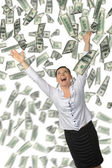 The woman and is a lot of money falling from above — Stock Photo