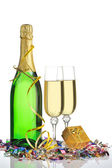 Bottle of a champagne and glasses — Stock Photo