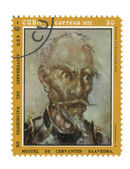 Stamp with image Don Quixote author Miguel de Cervantes — Stock Photo
