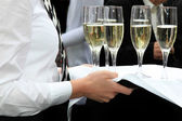 Waitress served champagner — Foto Stock