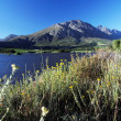 Landscape with lake and mountains and blue skies — Stok fotoğraf