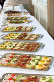 Buffet with appetizers or finger food — Stok fotoğraf