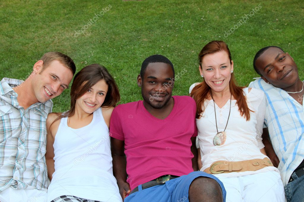 Five smiling young of various origin are happy  Stock Photo #3550457