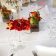 Covered table in the restaurant — Stock Photo