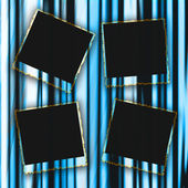 Blank photo frames on curtain background — Stock Photo