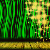 Green theater curtain with starts — Stock Photo