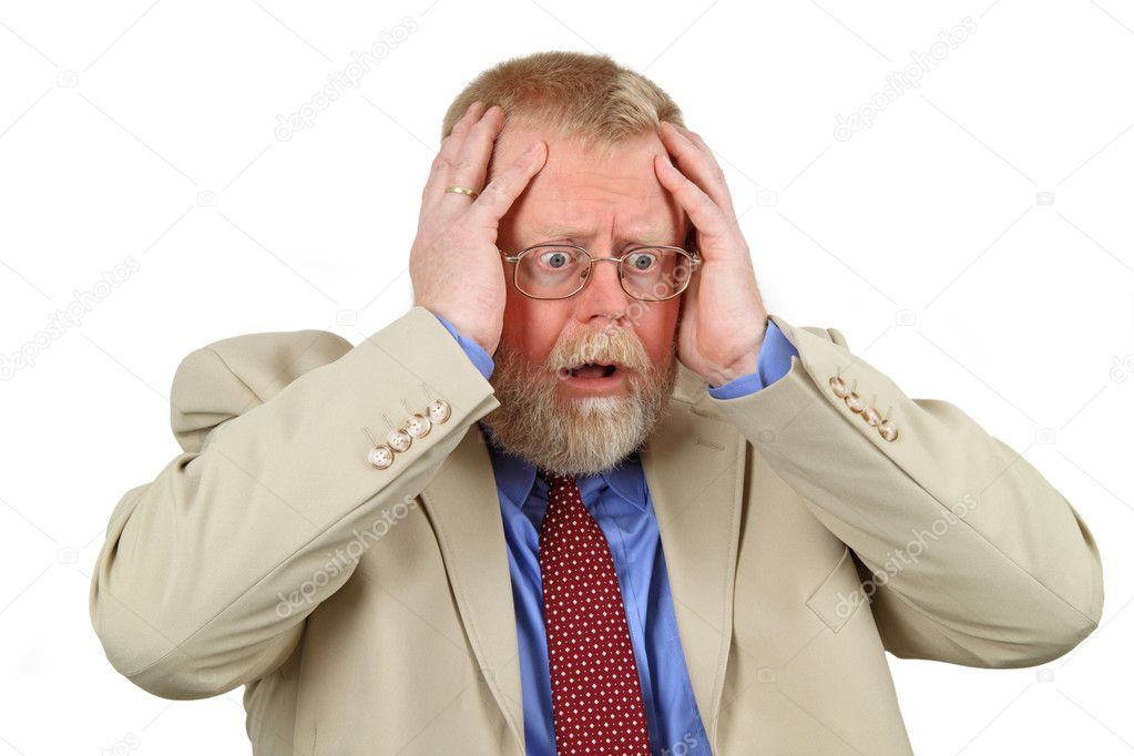 Close up portrait of distressed businessman with hands on his face, white background. — Stock Photo #2833619