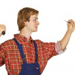 Carpenter with Nails — Stock Photo