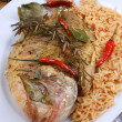 Bream from greece with rice - Stock Photo