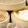 Stock Photo: Rice in bamboo steamer