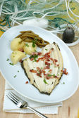 Plaice with some potato and beans — Stock Photo