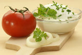 Home made curd cheese in a bowl — Stock Photo