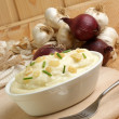 Stock Photo: Grilled garlic with mash potato