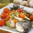Sea bream from greece with vegetable — Stock Photo