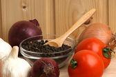 Pepper corn in a glass bowl — Stock Photo