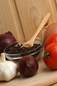 Hot pepper corn in a glass bowl — Stock Photo