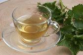 Chá de ervas orgânica em um copo — Fotografia Stock