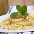 Noodle and  mint on a plate — Stock Photo