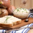 Lard on toast with organic dill - Stock Photo
