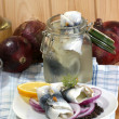 Rollmops on a white plate — Stock Photo