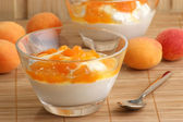 Yoghurt with home made apricot compote — Stock Photo