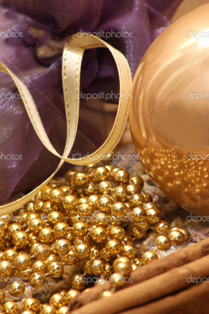 Christmas decoration with one golden glitter ball  Stock Photo #3587785